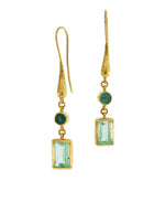 Long Gold Emerald Earrings