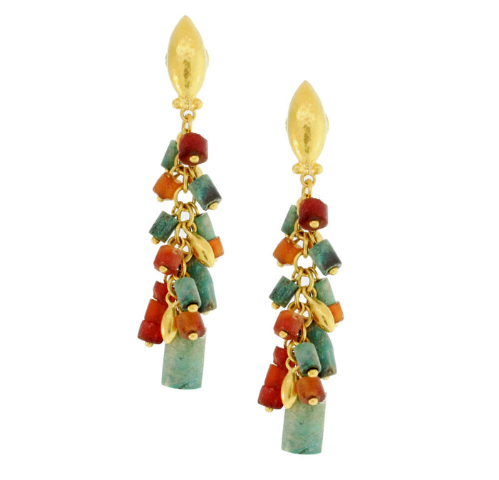 Turquoise And Carnelian Gold Earrings
