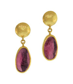 Pink Tourmaline Gold Earrings