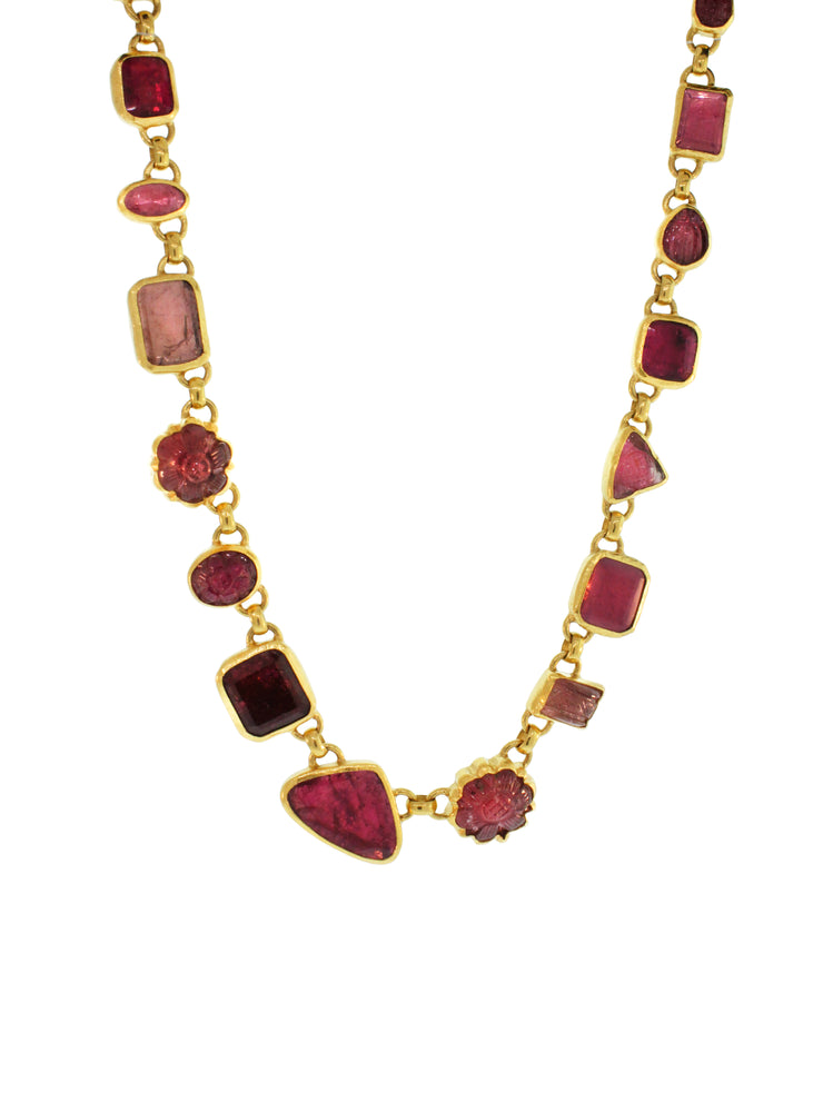 Carved Pink Tourmaline Necklace