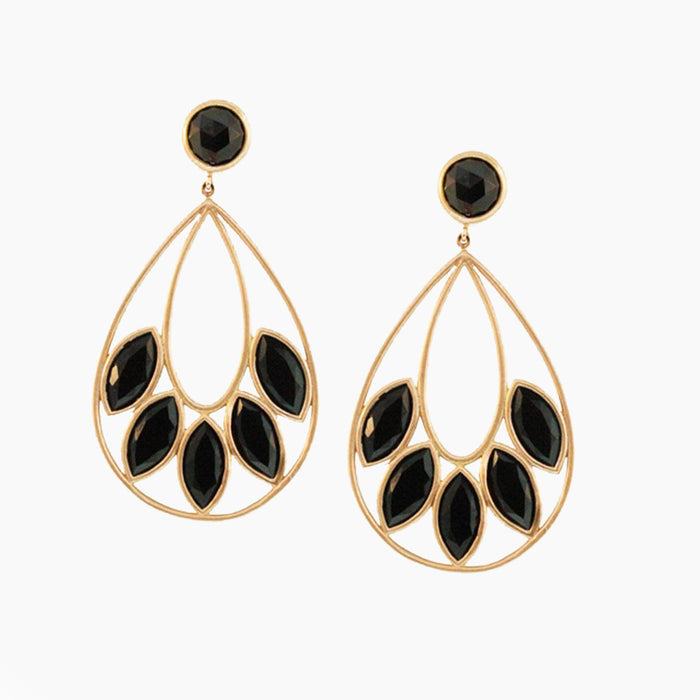 Pear Shaped Earrings with Onyx