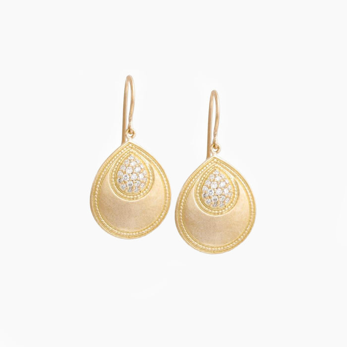 Engraved Pear Earrings