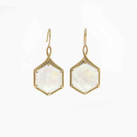 HEXAGON MOONSTONE EARRINGS