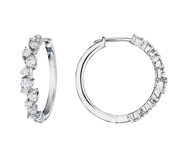 WHITE GOLD CLUSTER HOOP EARRINGS