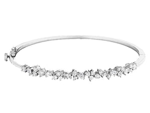 WHITE GOLD CLUSTER BANGLE