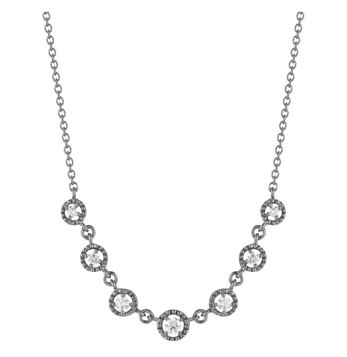 WHITE GOLD AND BLACK RHODIUM DIAMOND NECKLACE