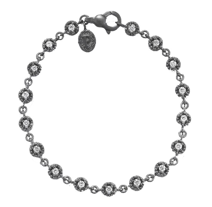 WHITE GOLD AND BLACK RHODIUM ROUND BRACELET