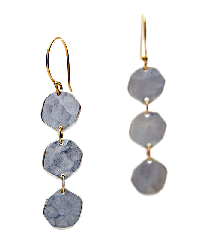 TRIPLE HAMMERED EARRINGS