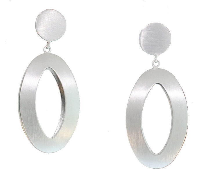 SILVER 3D OVAL DANGLES