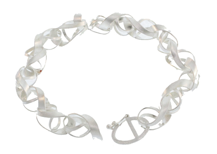 SILVER TWISTED RIBBON LINK BRACELET