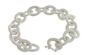 SILVER THICK OPEN OVAL LINK BRACELET