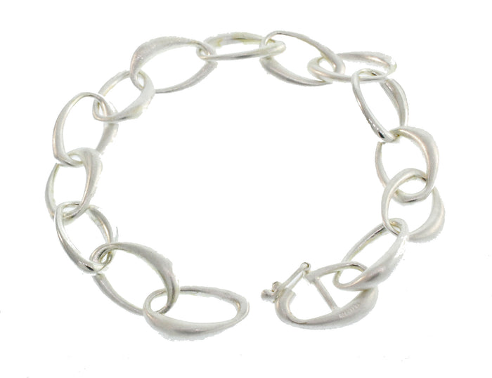 MIXED SILVER OPEN OVAL LINK BRACELET