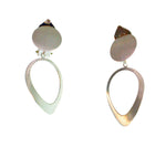 SILVER CIRCLE OVAL CLIP-ON EARRINGS