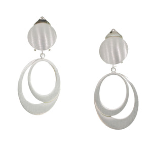SILVER DOUBLE OVAL CLIP-ON EARRINGS