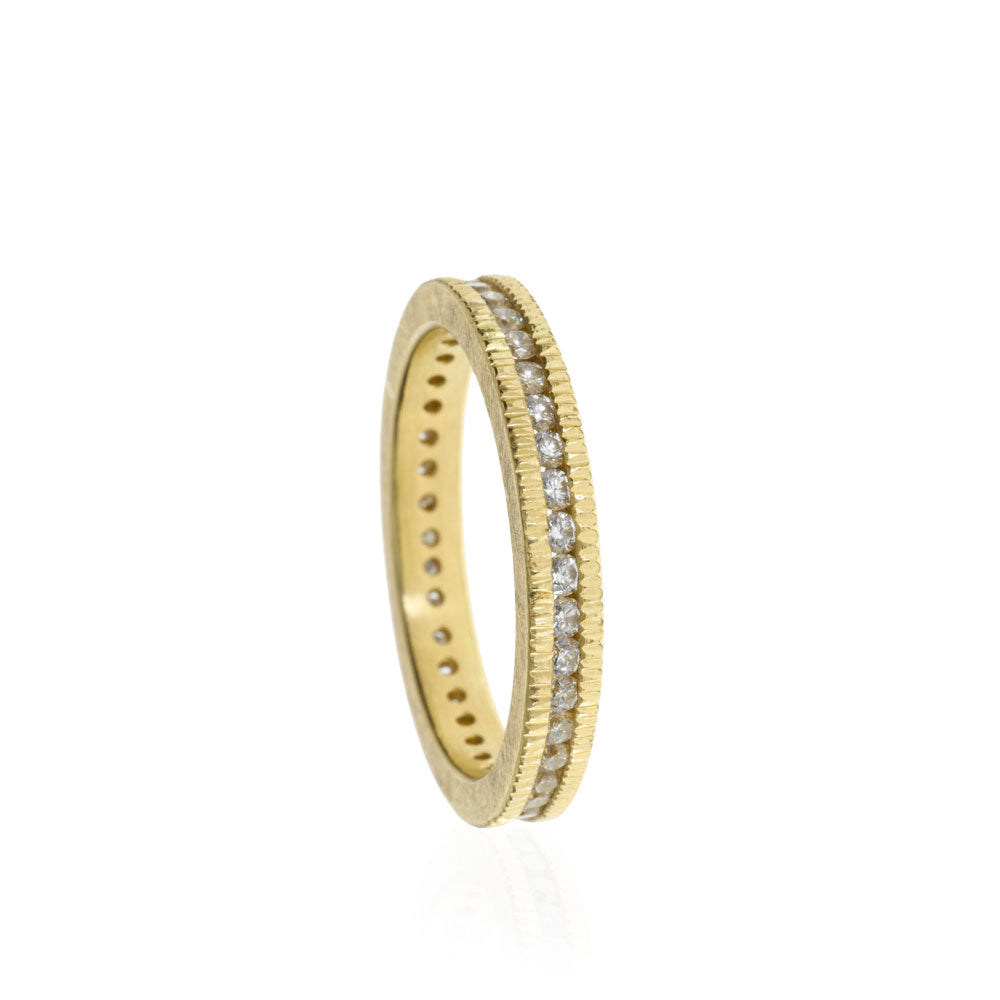 Gold And Diamond Channel Set Band