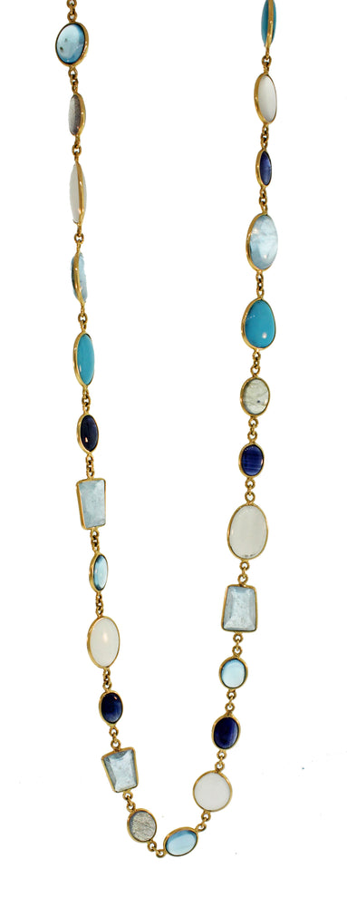 18k Sapphire, Moonstone, Turquoise & Blue Topaz Necklace