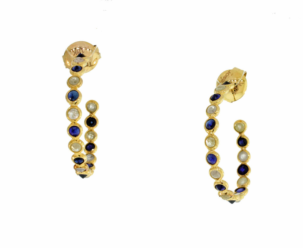 18k Blue Sapphire & Diamond Hoop Earrings