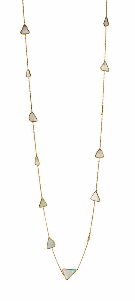 18k Long Diamond Slice Necklace