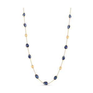 18k Blue Sapphire and Yellow Gold Necklace