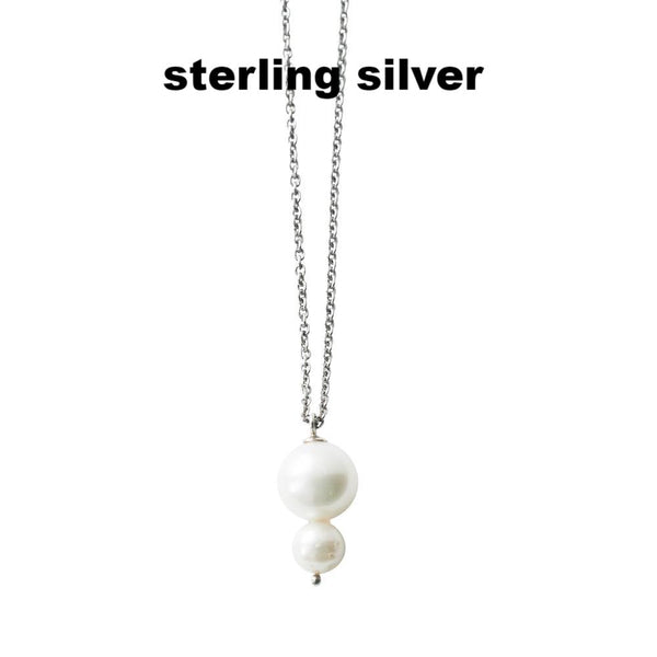 Silver necklace with pearls - MASO shop