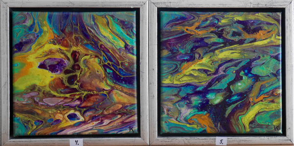"""Spring"" Handcrafted acrylic paintings by madame K (2 x 20 cm x 20 cm). Free shipping within DK - Delivery approx. 1-2 days"