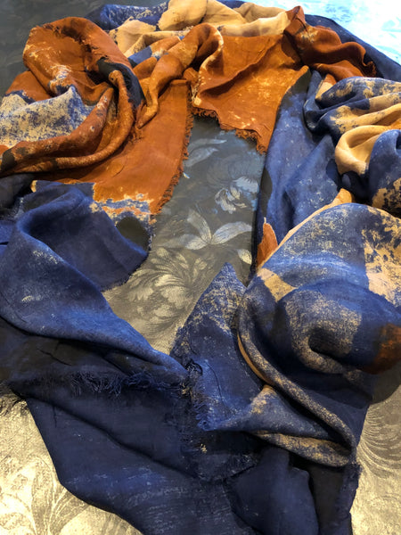 Blue-orange scarf - MASO shop