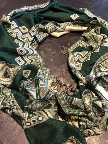 Green-white cotton scarf - MASO shop