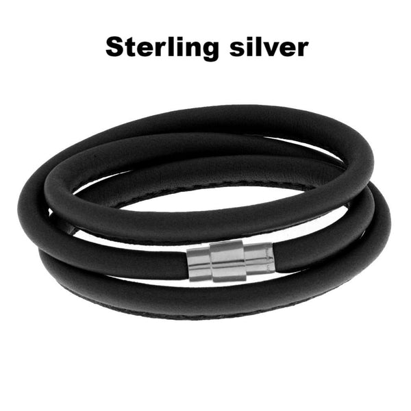 Black leather bracelet for charms - MASO shop