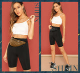 SHEIN Black Casual Solid Crop Wide Waistband Cycling Short Leggings Summer Modern Lady Women Pants Trousers - MASO shop