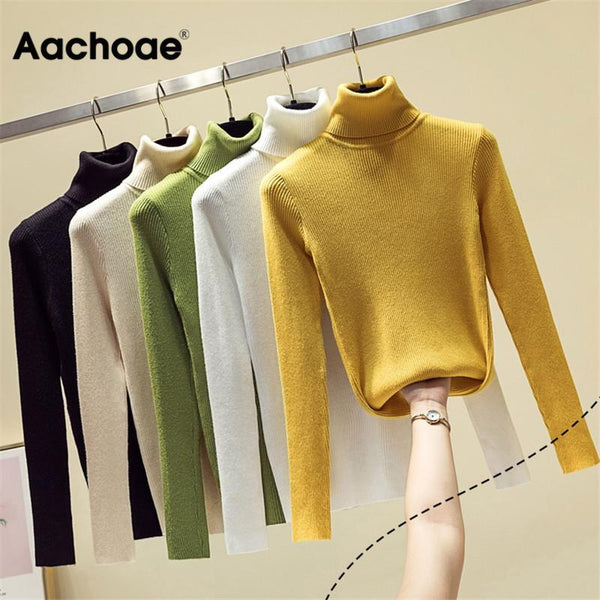 Knit Sweater Women Turtleneck Casual Pure Cashmere Pullover Autumn Winter Solid Long Sleeve Slim-jumper Soft Tops Pull Femme - MASO shop