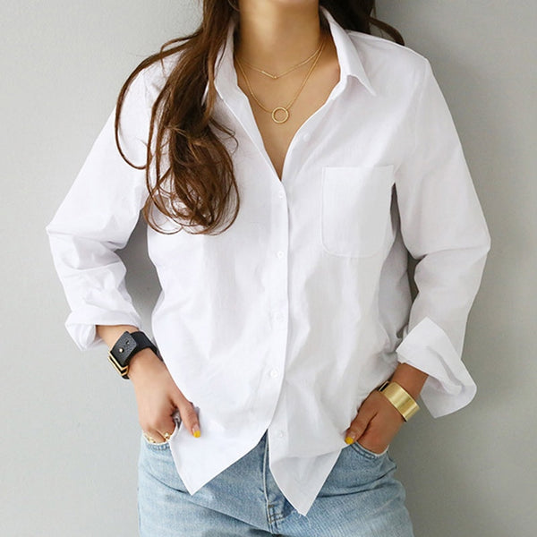 2019 Spring One Pocket Women White Shirt Female Blouse Tops Long Sleeve Casual Turn-down Collar OL Style Women Loose Blouses - MASO shop