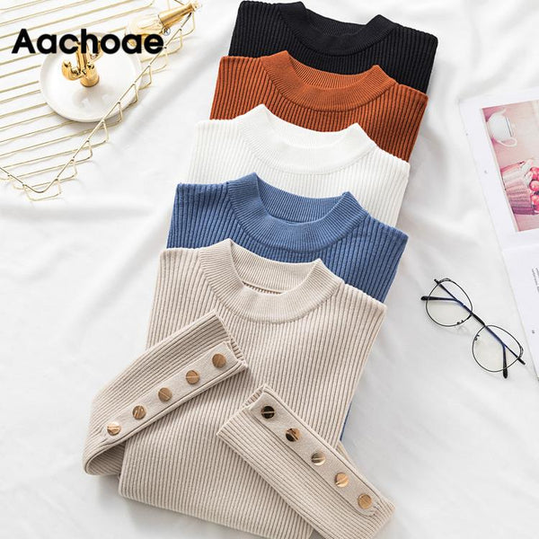 Autumn Women Long Sleeve Pure Slim Sweater Winter Knitted Turtleneck Casual Cashmere Pullover Metal Buttons Split Cuff Basic Top - MASO shop
