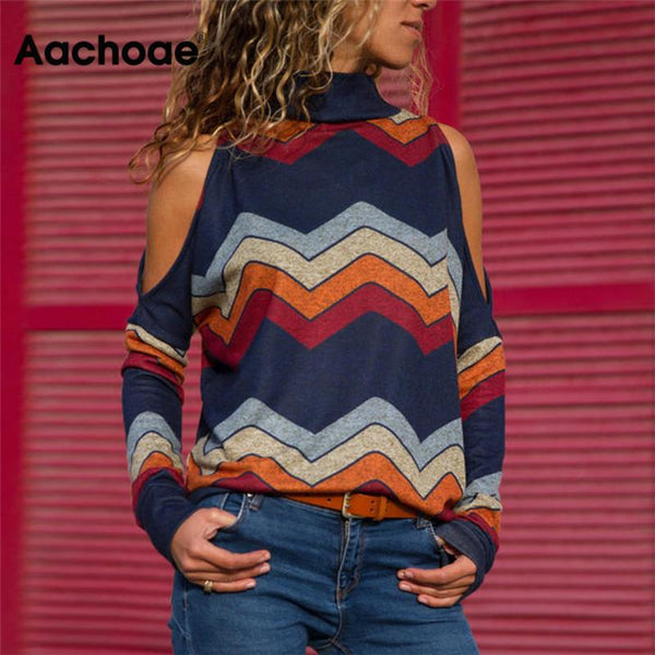Women Blouses Sexy Cold Shoulder Tops Casual Turtleneck Knitted Top Jumper Pullover Print Long Sleeve Shirt Blusas Camisas Mujer - MASO shop