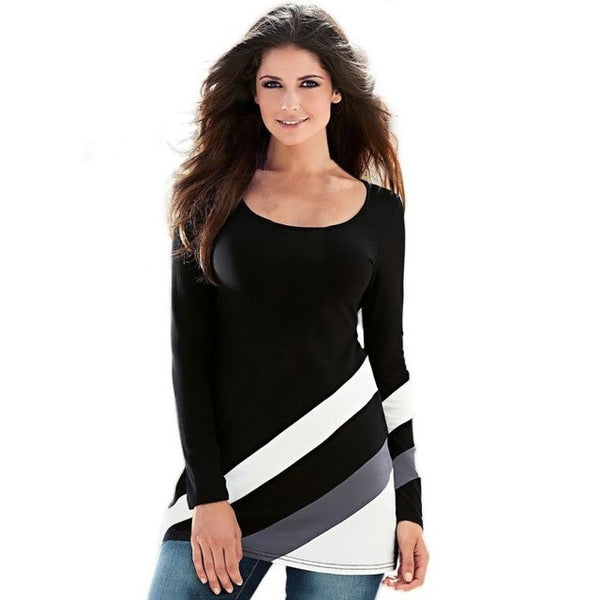 Womens Sexy Stripe Splice Long Sleeve Round Neck Pullover Blouse Tops Black damesblouses