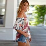 Off Shoulder Blouse shirt 2017 women Sexy summer Short Sleeve Floral Printed Casual Tops Shirt white Femininas Blusas