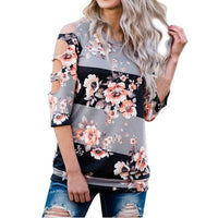 Sexy Hole T-shirt Women Off Shoulder Shirt Casual Loose Tops Ladies Floral Printing Multicolor 2017 Hot Summer Shirt	Femme