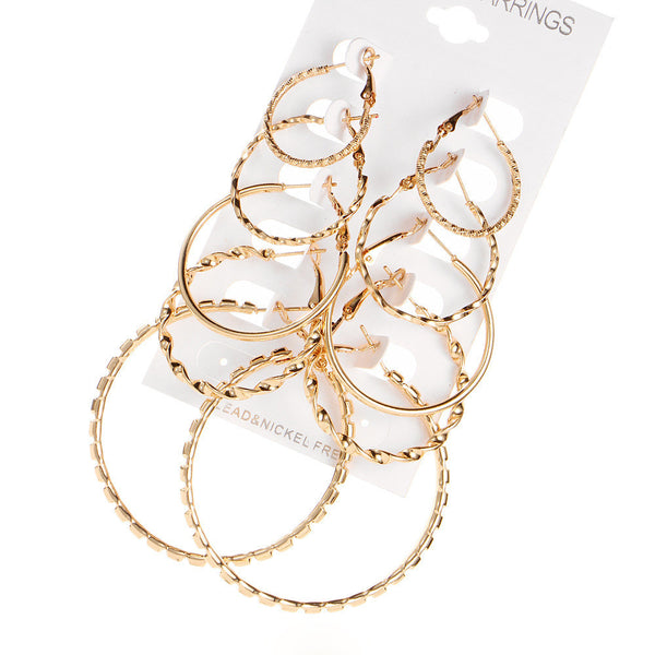 5 Pairs Big Circle Earrings - MASO shop