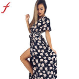 Floral print summer dress 2017 Deep V long dress Women backless maxi dresses vestidos Sexy Black split beach vestidos