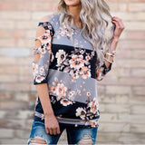 Sexy Hole T-shirt Women Off Shoulder Shirt Casual Loose Tops Ladies Floral Printing Multicolor 2017 Hot Summer Shirt	Femme - MASO shop