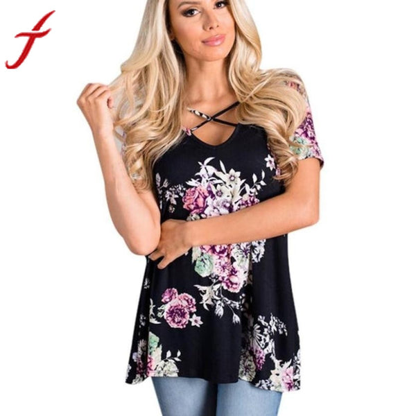 Cross Front Bandage Blouse 2017 Hot Women Floral Print Short Sleeve Crisscross Front V Neck Blusa Tops tops camisetas mujer