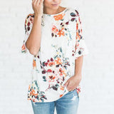 Floral Printing Blouse Womens Short Sleeve Flare Loose O-Neck Tops & Blouses Summer white Shirt Babydoll Top