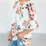 Floral Printing Blouse Womens Short Sleeve Flare Loose O-Neck Tops & Blouses Summer white Shirt Babydoll Top - MASO shop