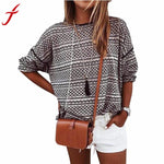 High Quality Women Loose Stripe Stitching Long Sleeve Round Neck Tops Shirt Blouse Clothing Female Shirts Femme Blusa #LLSW