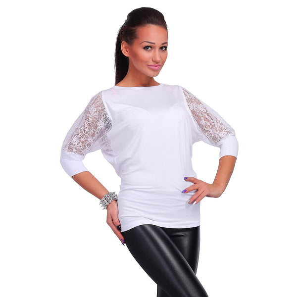 Fashion Women Casual Blouse 3/4 Lace Sleeve Solid Tops