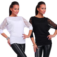 Fashion Women Casual Blouse 3/4 Lace Sleeve Solid Tops - MASO shop