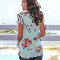 Women Stripe Short Sleeve Flower Printed T-shirt Blouse Tops