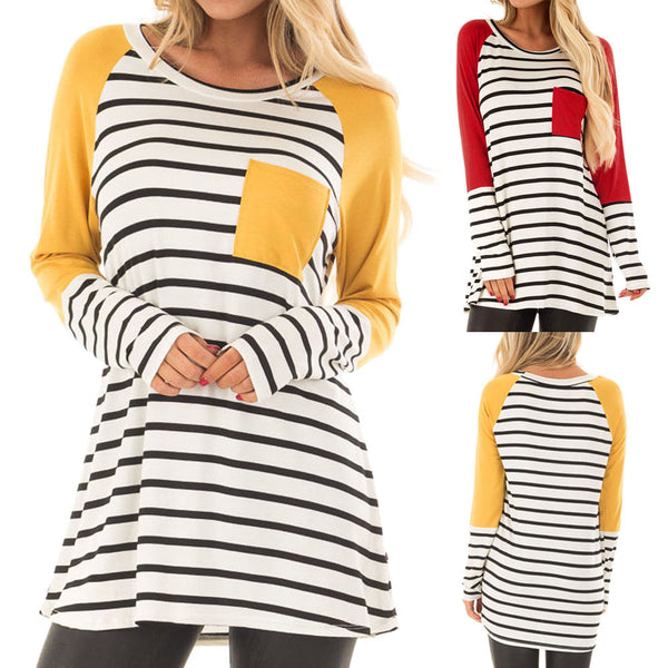 Women Stripe Printing Pocket Shirt Long Sleeve Casual Shirt Tops Blouse