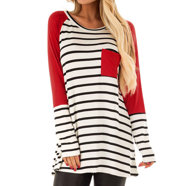 Women Stripe Printing Pocket Shirt Long Sleeve Casual Shirt Tops Blouse - MASO shop