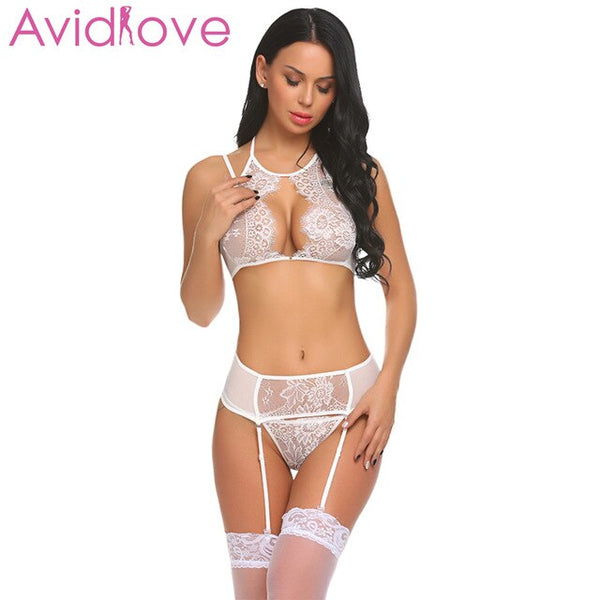 (ONLY WHITE COLOR IN THIS SECTION) Avidlove Sexy Erotic Underwear Sex Lingerie Set Women Lace Bralette Bra with G-string And Garter Lingerie Set Porno Wear Clothes