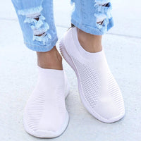 Women Sneakers Female Knitted Vulcanized Shoes Casual Slip On Ladies Flat Shoe Mesh Trainers Soft Walking Footwear Zapatos Mujer - MASO shop